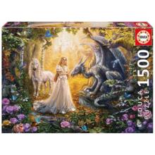 Пазл Educa, 1500 элементов - Дракон, принцесса и единорог