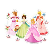 Пазл Castorland, 4 в 1 (4,5,6,7) элементов - Принцессы