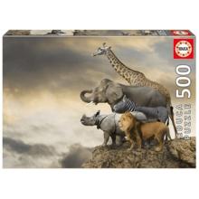 Пазл Educa, 500 элементов - Животные на краю скалы