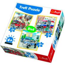 Набор пазлов Trefl, 3в1 (20+36+50) элементов - Спасатели и их машины