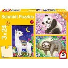 Пазл Schmidt, 3x24 элементов - Лама, панда, ленивец