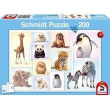 Пазл Schmidt, 200 элементов - Детёныши диких животных- коллаж
