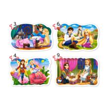Пазл Castorland 4 в 1 (3,4,6,9) элементов - Сказки о принцессах