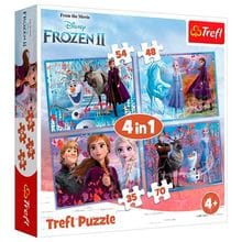 Пазл Trefl, 4 в 1 (35+48+54+70) элементов - Путешествие в неизвестность, Frozen 2