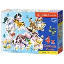 Пазл Castorland, 4 в 1 (4+5+6+7) элементов - Животные с детьми