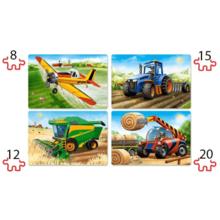 Пазл Castorland, 4 в 1 (8,12,15,20) элементов - Сельскохозяйственные машины