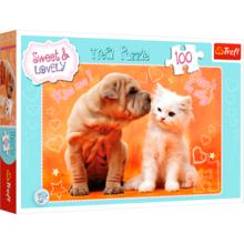 Пазл Trefl, 100 элементов - Щенок и котенок