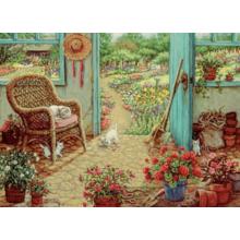 Пазл Cobble Hill, 1000 элементов - Janet Kruskamp Сарай с цветочными горшками