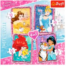 Набор пазлов Trefl, 4в1 (35+48+54+70) элементов - Принцессы с друзьями