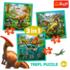 Набор пазлов Trefl, 3в1 (20+36+50) элементов - Удивительный мир динозавров