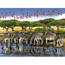 Пазл Cobble Hill, 500 элементов - Зебры и фламинго