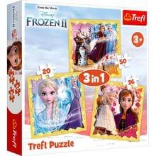 Пазл Trefl, 3в1 (20+36+50) элементов - Сила Анны и Эльзы, Frozen 2