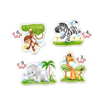 Пазл Castorland, 4 в 1 (3,4,6,9) элементов - Африканские животные