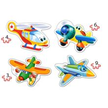 Пазл Castorland, 4 в 1 (3,4,6,9) элементов - Смешные самолёты