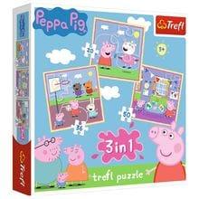 Пазл Trefl, 3в1 (20+36+50) элементов - Игры в школе, Свинка Пеппа