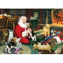 Пазл Cobble Hill, 1000 элементов - Санта и веселые щенки