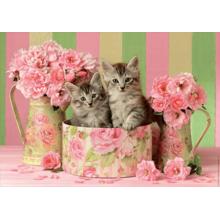 Пазл Educa, 500 элементов - Котята с розами