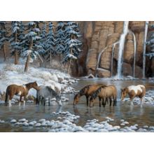 Пазл Cobble Hill, 1000 элементов - Лошади у водопада