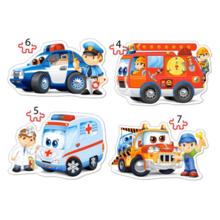 Пазл Castorland, 4 в 1 (4,5,6,7) элементов - Спасательные службы