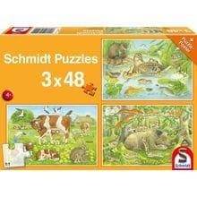Пазл Schmidt, 3х48 элементов - Животные с малышами