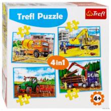 Набор пазлов Trefl, 4в1 (35+48+54+70) элементов - Большие строительные машины