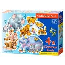 Пазл Castorland, 4 в 1 (4+5+6+7) элементов - Дети джунглей