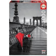 Пазл Educa, 1000 элементов - Красный зонт, Бруклинский мост