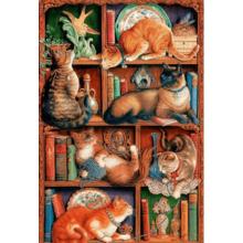 Пазл Cobble Hill, 2000 элементов - Кошки на книжных полках